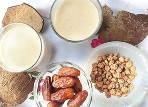tiger nuts, dates and coconut drink